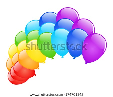 Rainbow of colored glossy balloons on white. Raster version. - stock photo
