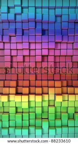 Rainbow of colorful boxes 3d illustration. high resolution - stock photo