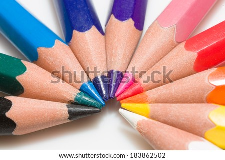 Rainbow of colorful pencil set with 10 colors present - stock photo