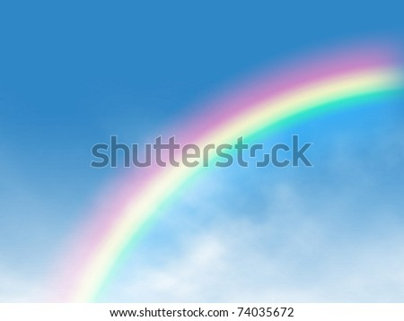 Rainbow on blue sky with Clouds painted on canvas. Computer generated colorful image, suitable for backgrounds. - stock photo