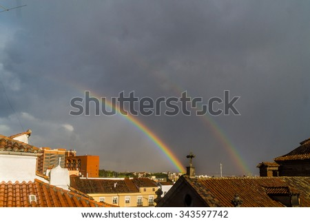 rainbow on the church of the pansies in Madrid, Spain