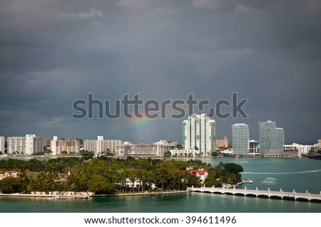 Rainbow over South Miami beach and Star Island