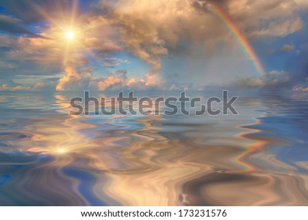 Rainbow over stormy sea - stock photo