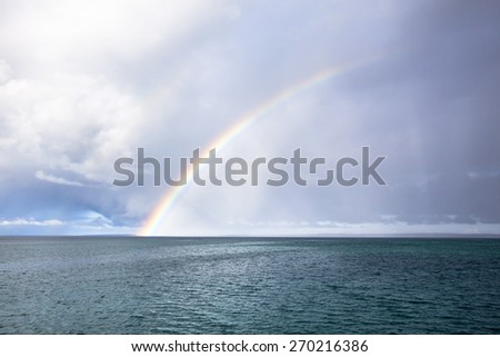 Rainbow over the sea off the coast of the Galapagos Islands