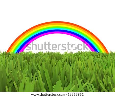rainbow over unnatural grass field - stock photo