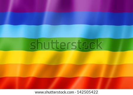 Rainbow peace flag, three dimensional render, satin texture - stock photo