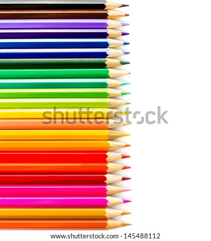Rainbow Pencils art school supplies closeup