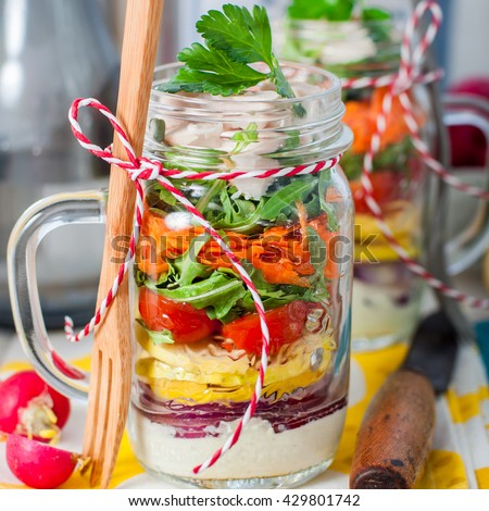 Rainbow Picnic Chicken and Vegetable Salad in a Mason Jar, square - stock photo