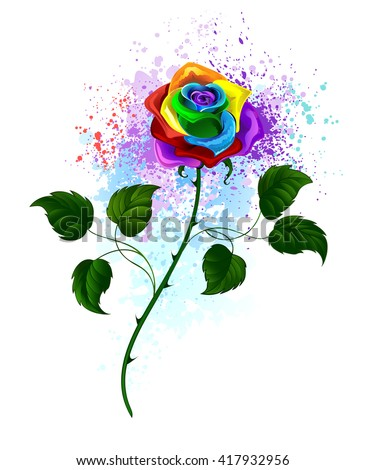 rainbow rose with a curved green stem and green leaves on a white background, shaded bright splashes of paint.Design with roses. Tattoo style. Rainbow Rose..  Tribal graphics. Style sketch.  - stock photo