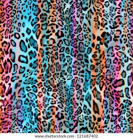 rainbow stripe animal seamless print - stock photo