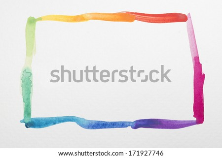 Rainbow watercolor frame - stock photo