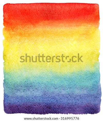Rainbow watercolor gradient fill with rough edges. Hand drawn vivid watercolour background. Bright rainbow striped stains design template. - stock photo