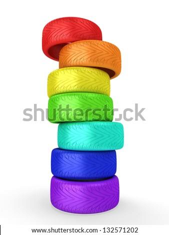 Rainbow wheel tires. - stock photo