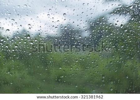 raindrop on a windshield - stock photo