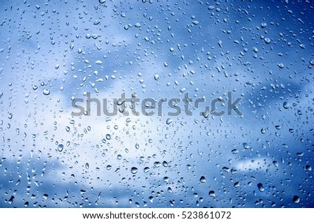 Raindrops on glass closeup
