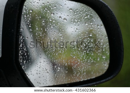 Raindrops on glass,windshield,Mirror car