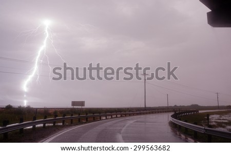 Raining Horizontally Thunderstorm Texas Gulf Of Mexico West Bay Lightning Strike - stock photo