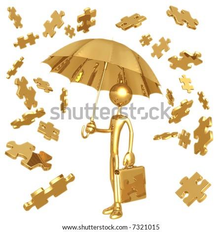 Raining Puzzle Pieces - stock photo