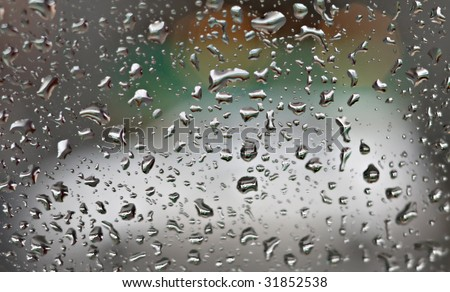 Rains Drops on the Glass - stock photo
