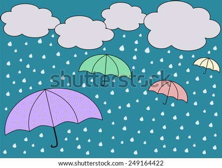 Rainy blue sky with colorful umbrellas