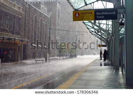 Rainy day in Calgary, Canada - stock photo