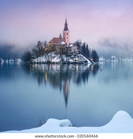 Rainy of day at the lake Bled in winter, Slovenia, Europe