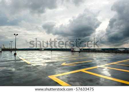 Rainy Parking - stock photo