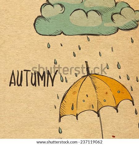 Rainy Season Background With Umbrella And Rain Drops - stock photo