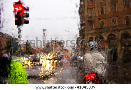 rainy street taken from a car window - stock photo