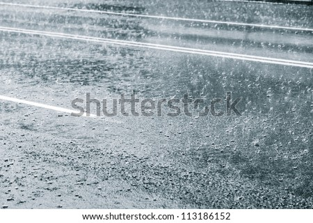 Rainy weather on a city street
