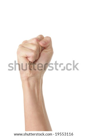 Raised fist isolated over white background