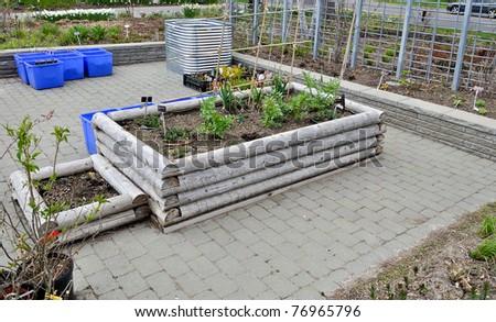 Raised Flower Beds in nursery - stock photo