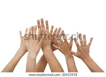 Raised hands, greeting or asking for help, isolated on white. - stock photo