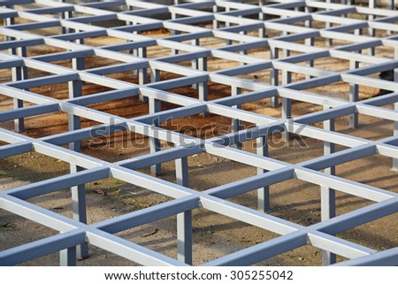 Raised Steel Floor Structure System - stock photo