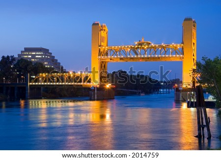 Raised Tower Bridge at Night, Sacramento