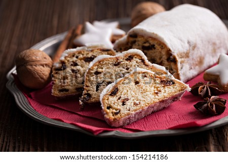 raisin stollen german cake on a plate