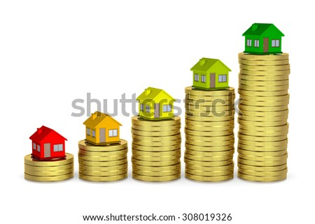 Raising Heaps of Coins with House on Top, Energetic Class Concept 3D Illustration on White Background - stock photo