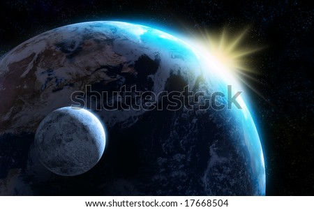 Raising sun illuminating our planet and moon. Digital illustration. - stock photo