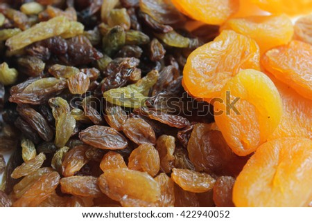 Raisins and dried apricots