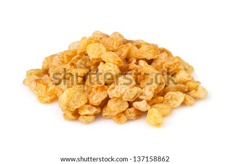 raisins heap on white background