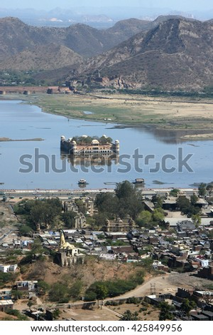 RAJASTHAN, INDIA - MARCH 03, 2006: View of Man Sagar Lake and Jal Mahal Palace , Jaipur