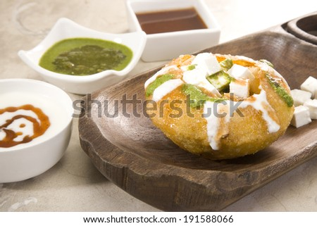 Rajasthani Shahi Raj Kachori, stuffed katchori with cheese and sprout filling and served with curd, chutney - stock photo
