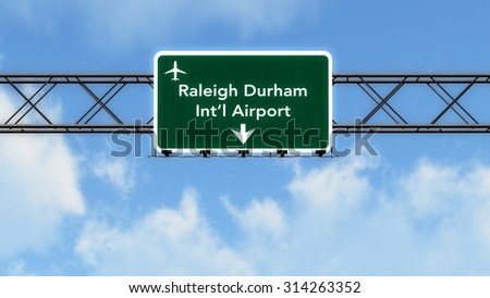 Raleigh Durham USA Airport Highway Sign 3D Illustration