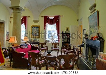 RALEIGH, NC - JANUARY 29, 2014, Southwest Suite (Governor's Office) furnishing of the 1840-1865 period, have served as the offices of North Carolina's governor - stock photo