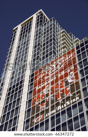RALEIGH, NC - NOVEMBER 28: Advertisement for the NHL All Star Game on the RBC building in downtown Raleigh, North Carolina, on November 28, 2010. Carolina Hurricanes to host the game. - stock photo