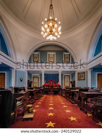 RALEIGH, NORTH CAROLINA - DECEMBER 13: Historic Senate chamber of the North Carolina State Capitol building on December 13, 2014 in Raleigh, North Carolina - stock photo