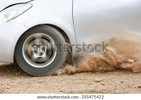 Rally Car in dirt track - stock photo