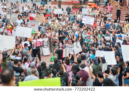 Rally to protest president Donald Trump's decision to end DACA at Pioneer Square Plaza in Portland, Oregon, on September 5th, 2017.