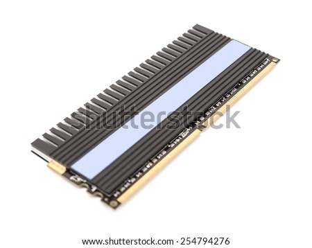 RAM Computer Memory Chip Module With Heatsink Isolated - stock photo