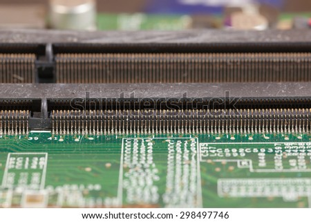 ram connector slot on mainboard - stock photo